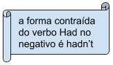 a forma contraída do verbo Had no negativo é hadn't